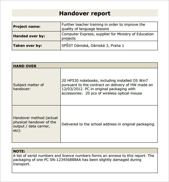 11 Free Handover Report Templates Word Excel Pdf Formats With