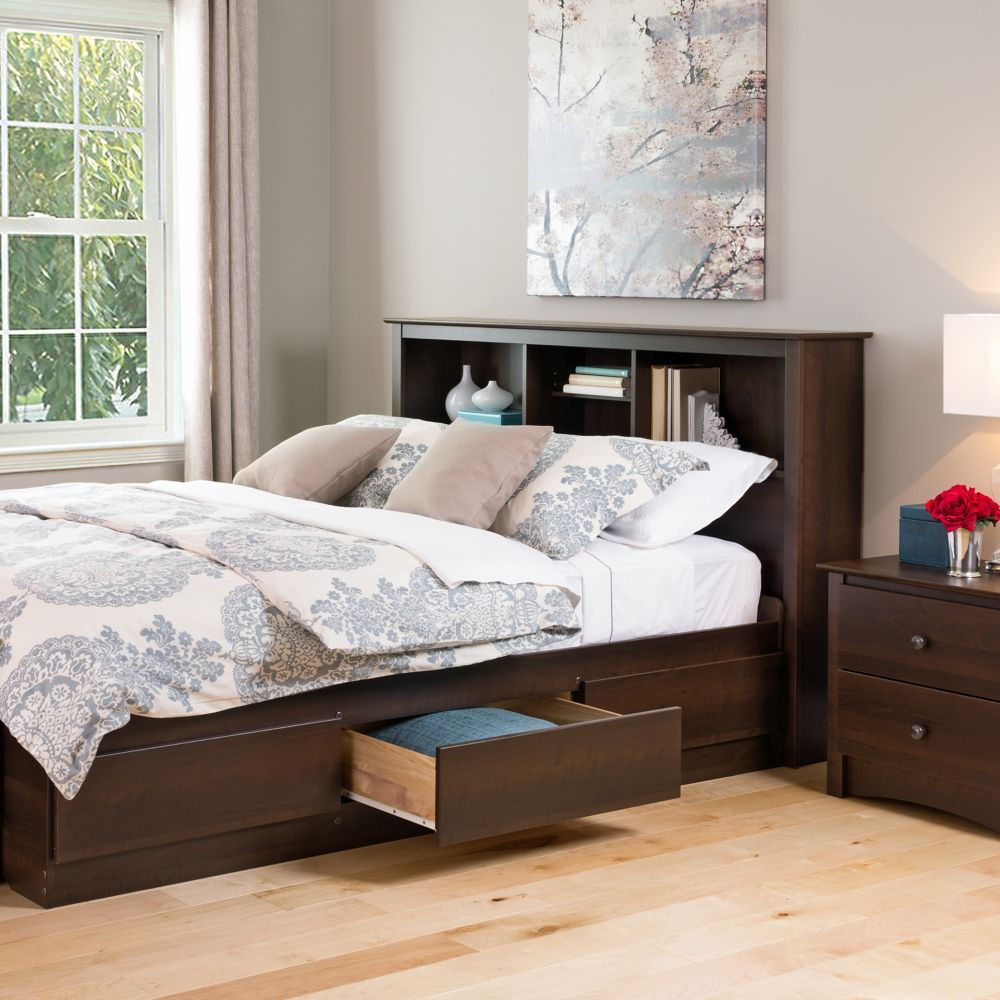 Full/Queen Bookcase Headboard in Espresso Cheap bedroom