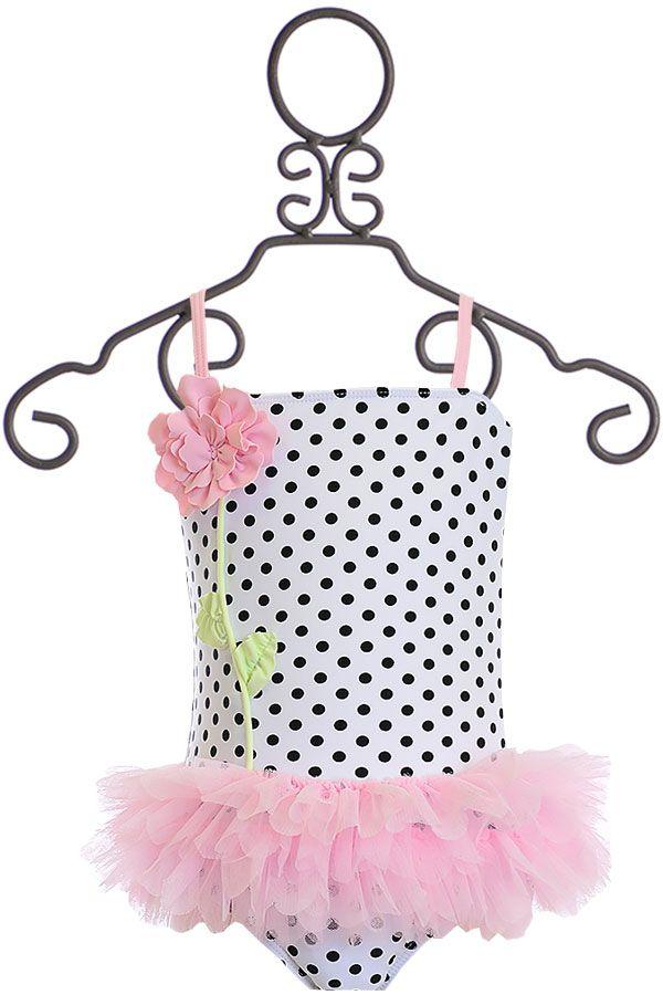 Kate Mack Polka Rose Girls Swimsuit