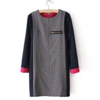 Women's Long Sleeves Fashional Color Splicing Zipper Up Cotton Dress