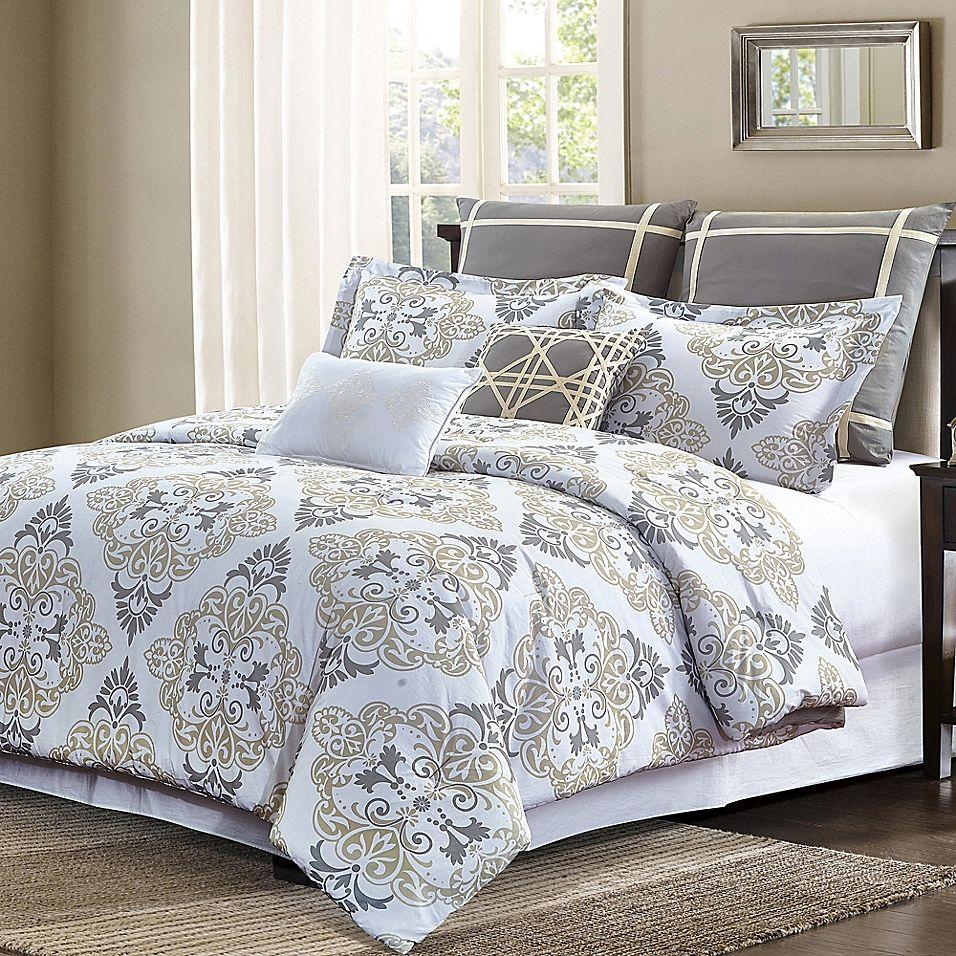 Suri King Comforter Set In Grey Taupe Comforter Sets Comforters King Comforter Sets