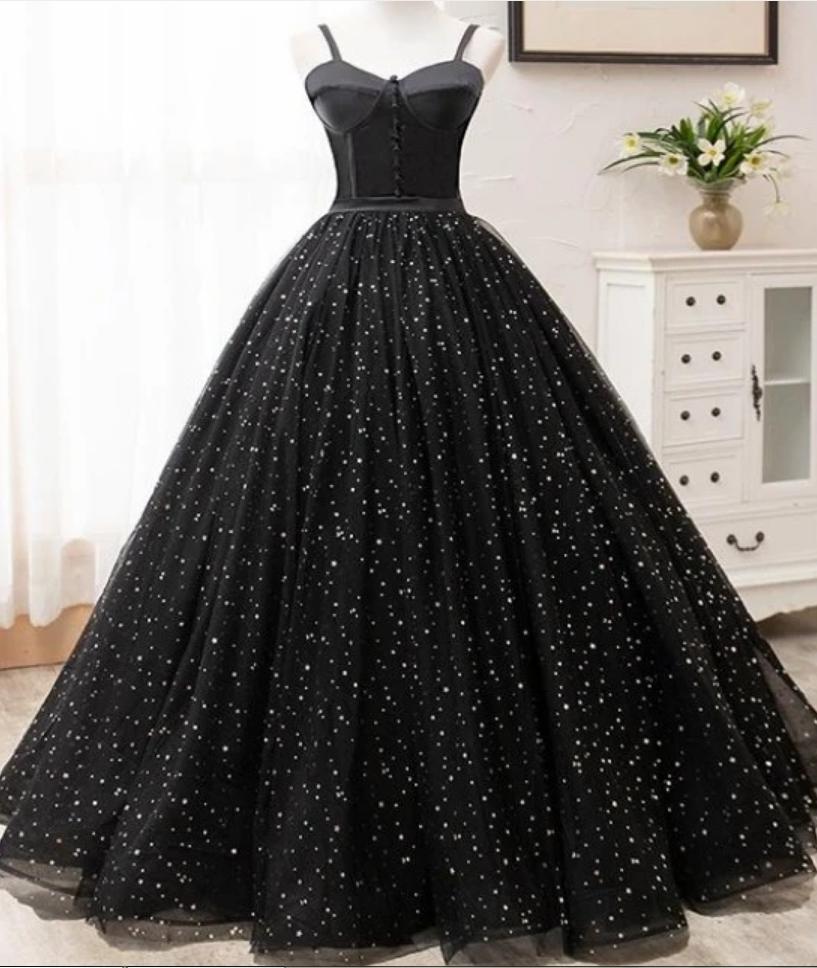Beautiful Black Prom Dresses Princess Spaghetti Straps Sleeveless Backless Party Dress Prom Dresses For Teens Black Prom Dresses Ball Gown Dresses [ 968 x 817 Pixel ]