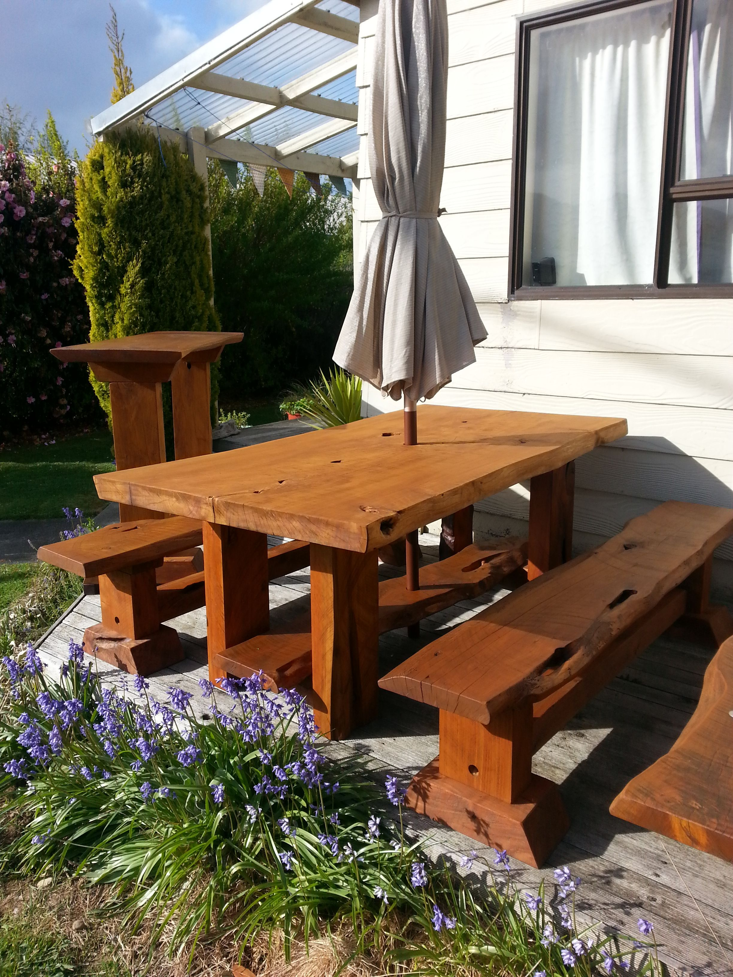Rustic Macrocarpa Outdoor Dining Table Set With Bench Seats And