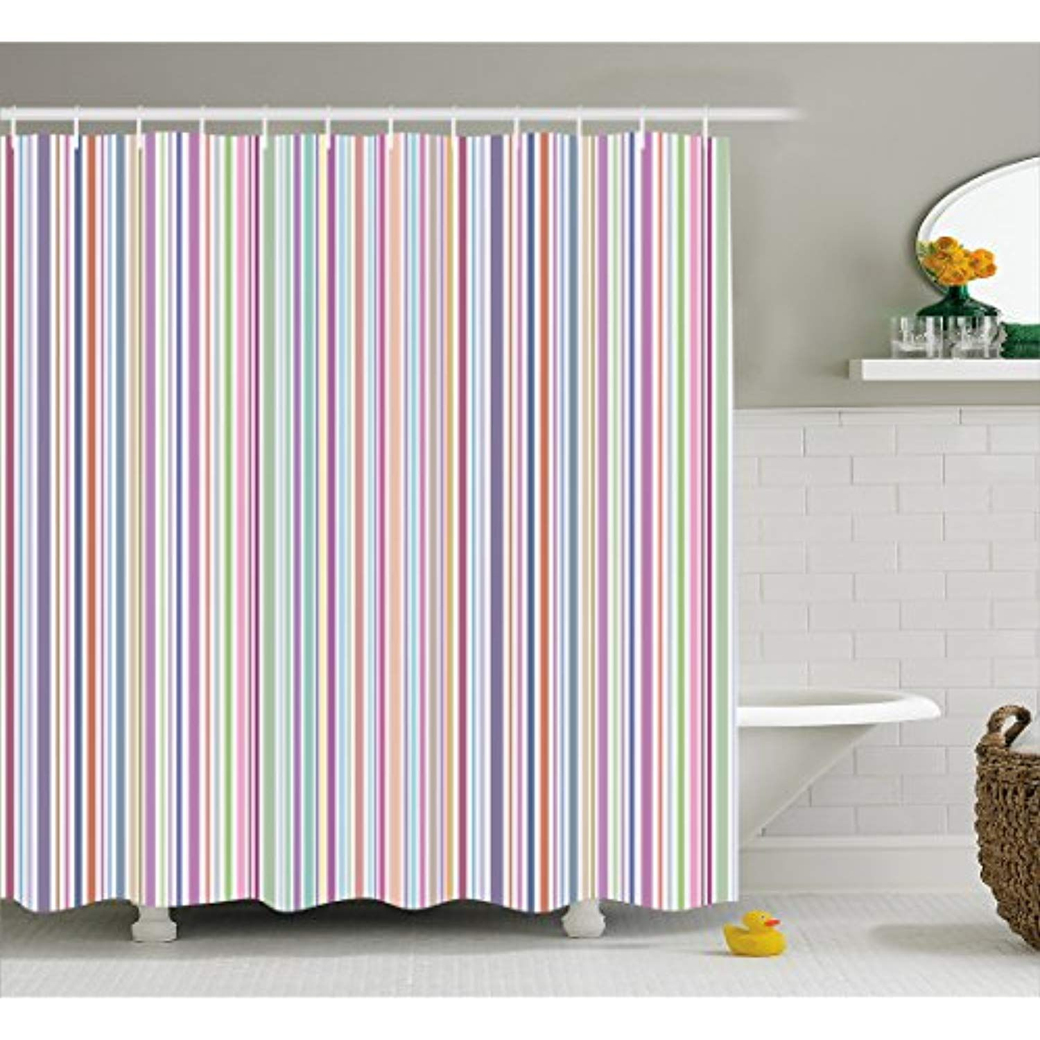 Lunarable Striped Shower Curtain By Pastel Colored Vertical Lines