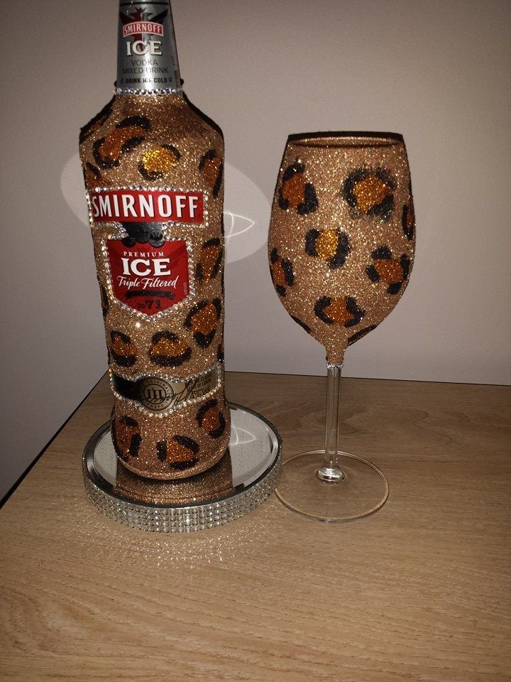 Decorated Hennessy Bottle Leopard Print Glitter Bottle With Matching Wine Glass  Leopard Is