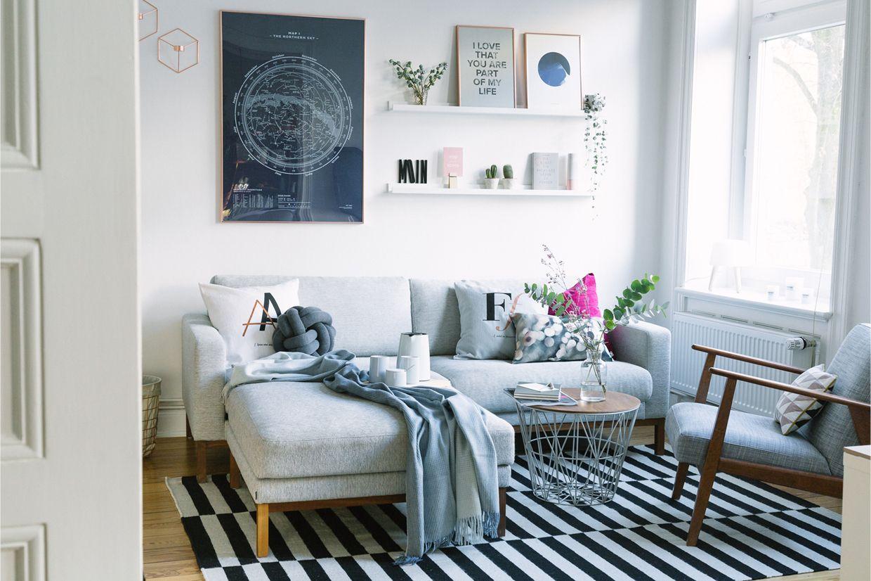 Wohnzimmer einrichten ~ Wohnzimmer neu einrichten kupfer rosé und blau interiors
