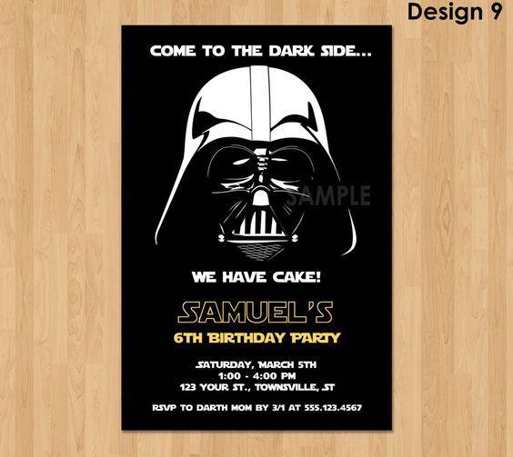 Awesome Darth Vader Invitation Star Wars Birthday Invitation Star By  KidsPartyPrintables | Etsy