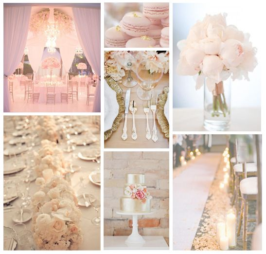 Ivory Blush And Gold Flowers For Wedding Table Blushgold