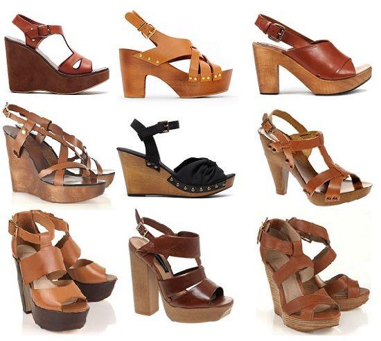 Zapatos de moda tacones gruesos de madera moda - Tocones de madera ...