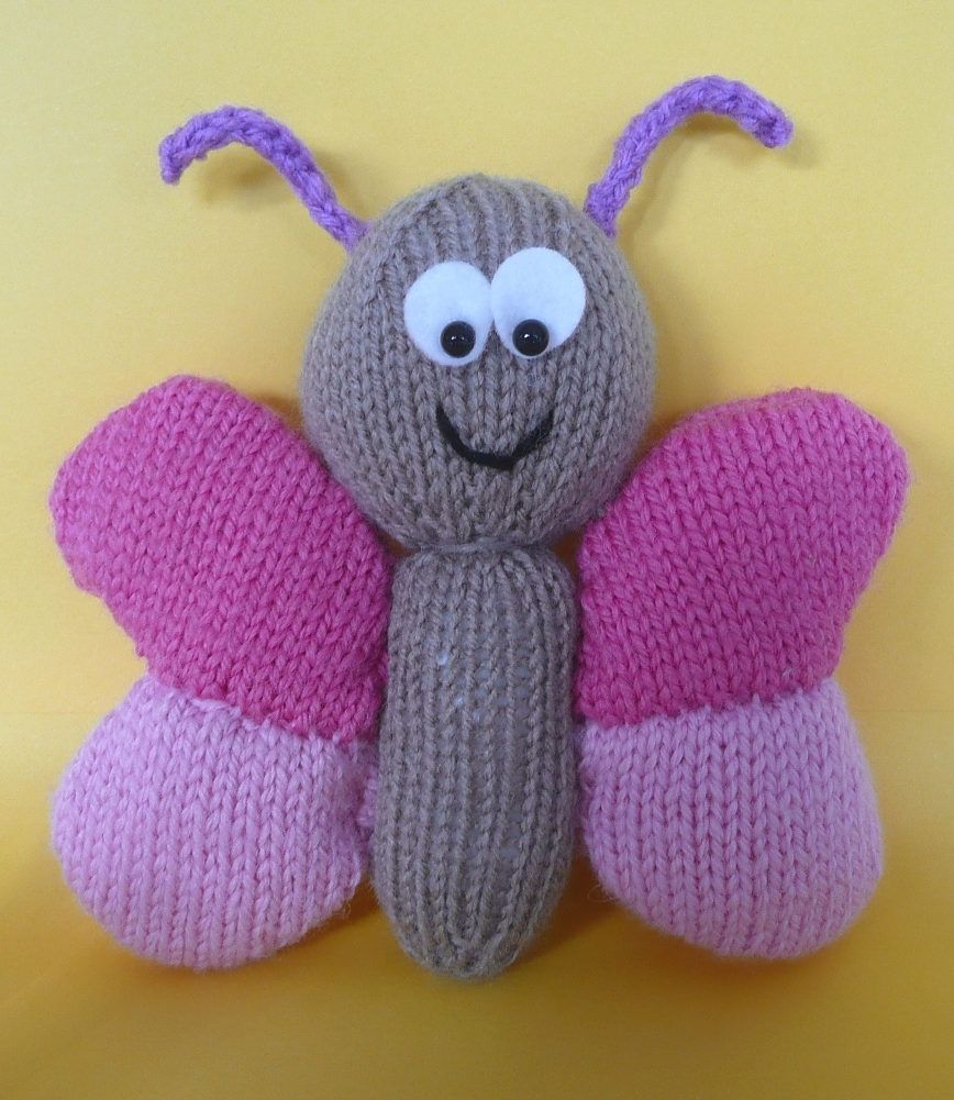Free Knitting Pattern for Butterfly Softie - This butterfly toy is ...