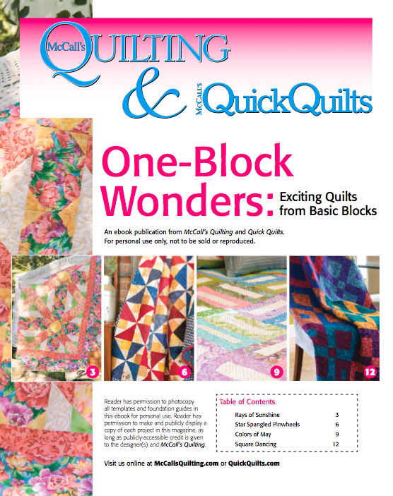 Free downloadable eBook of 4 one-block quilt patterns from ... : mccalls quilting - Adamdwight.com