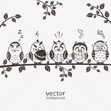 Иллюстрация Из Пяти Силуэт Смайликов Забавные Совы Сидят ...