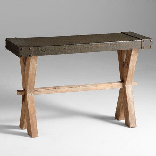mesa console in raw iron and natural wood by cyan design 4955 raw wooddining room