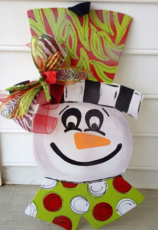 SALE Funky cheerful snowman door hanger by paintchic on Etsy, #Garland #Banner| http://bannerandgarland94.blogspot.com
