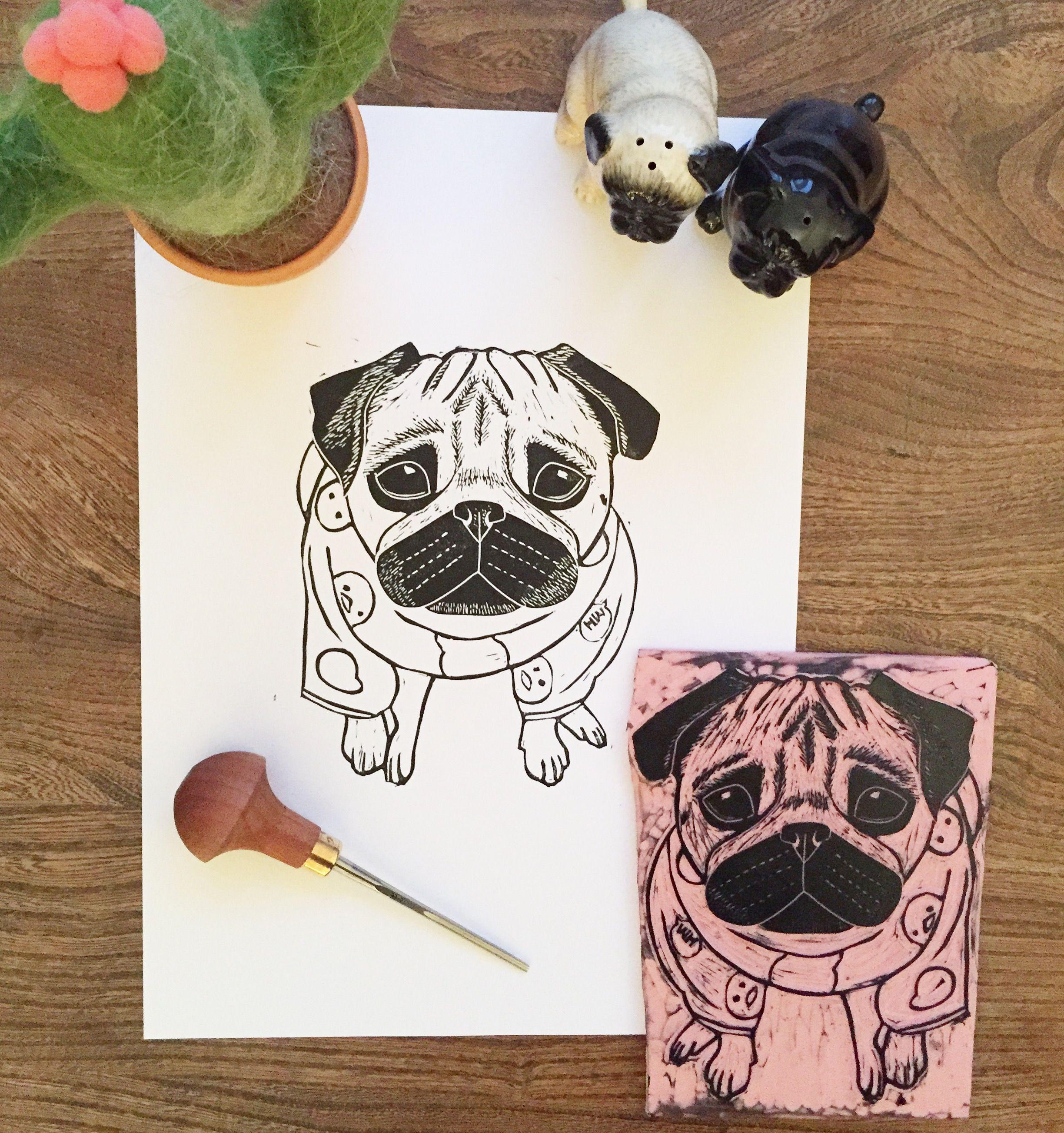 Cute Pug In Pjs Lino Print Work In Progress The Black Pug Press