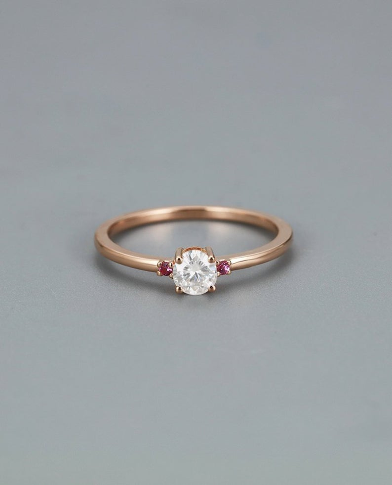 Photo of Delicate engagement ring rose gold women,Moissanite and pink Sapphire ring,Dainty Jewelry,Unique gifts for her,three stone ring,wedding ring