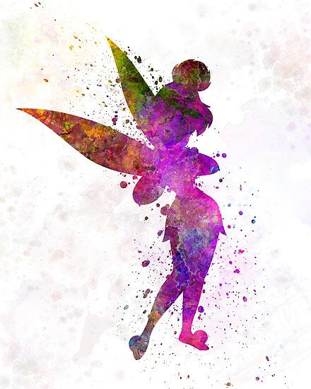 Tinkerbell Watercolour Watercolor Disney Disney Silhouettes