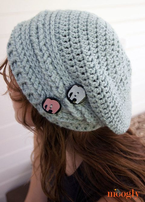 Lujo Patrón De Crochet Libre Gorrita Slouchy Bosquejo - Ideas de ...