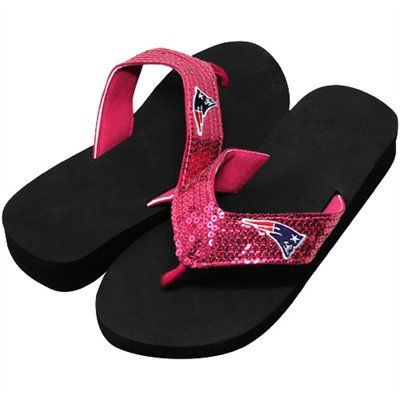 7a9c07c21d9f86 New England Patriots Ladies Sequin Wedge Flip Flops - Pink