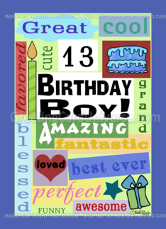 Happy Birthday For 13 Year Old Boy Good Word Subway Art 923840