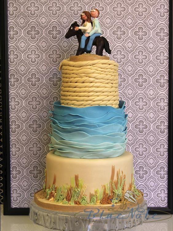 Beach Themed Wedding Cake To Commemorate Their Beach Proposal Blue Note Bakery Austin T Beach Theme Wedding Cakes Themed Wedding Cakes Beach Theme Wedding