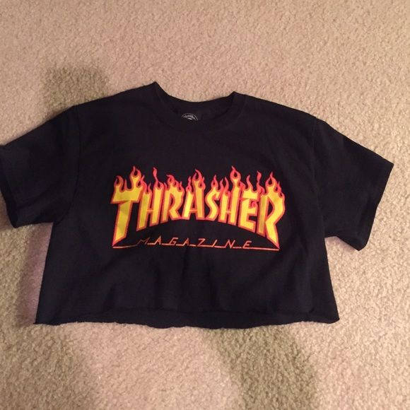bb124650c83a Shop Women s Thrasher Black Orange size S Crop Tops at a discounted price  at Poshmark. Description  Cute Thrasher crop tee. Sold by jessibair24.