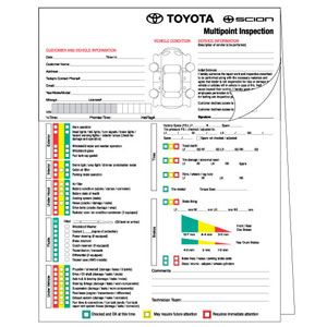 Toyota Multi Point Vehicle Inspection Form  Mechanic Shop