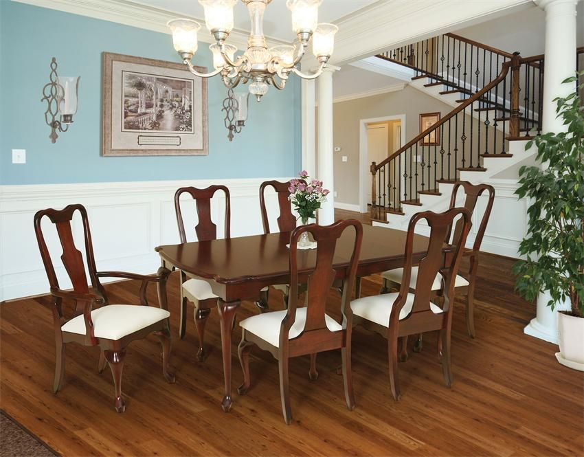 Picture Of Pacific Heights Dark Pecan 5Pc Rectangle Dining Room Amazing Queen Anne Dining Room Set Decorating Design