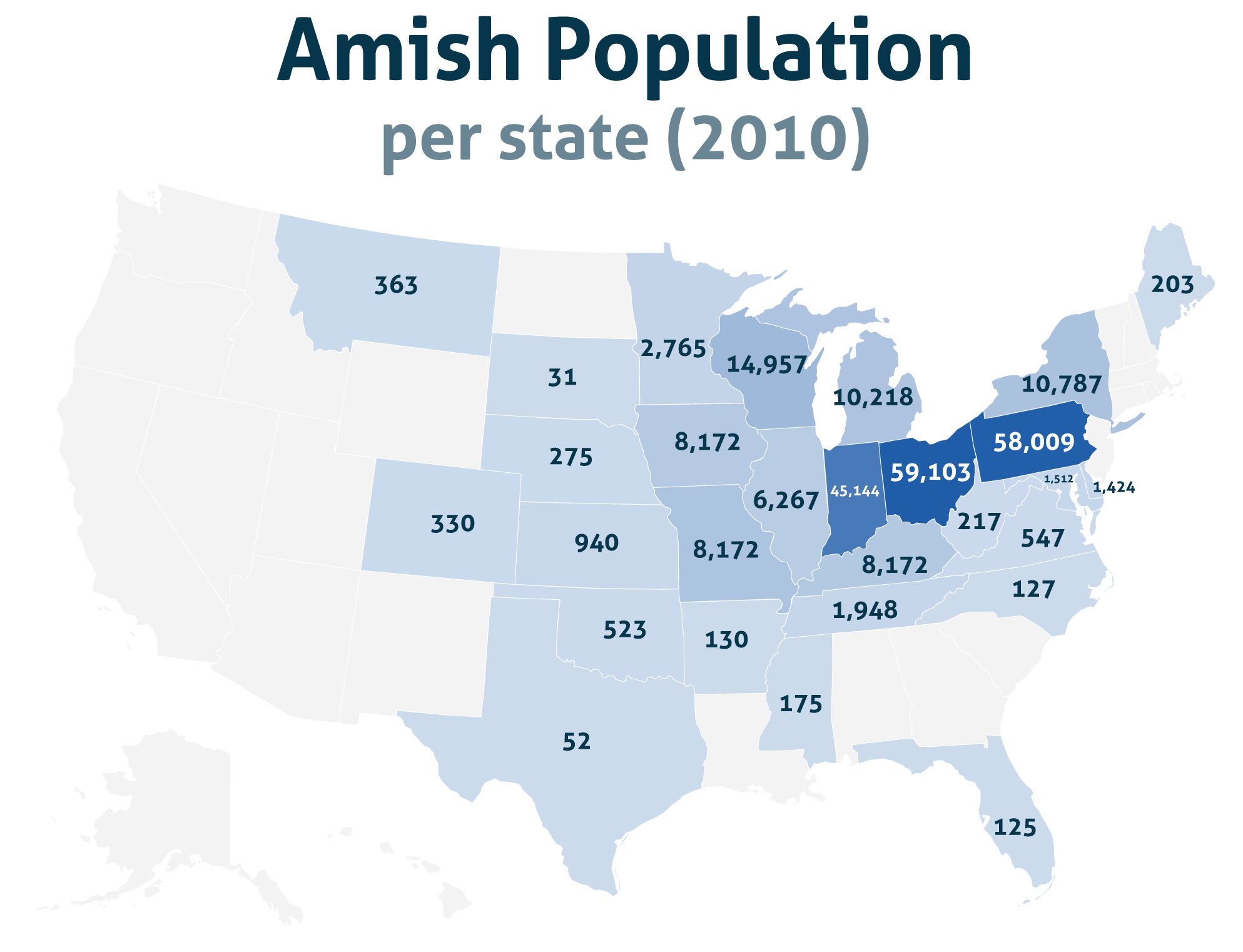 Amish Communities In Usa Map.Amish Population Per State 2010 Human Geography Amish Map