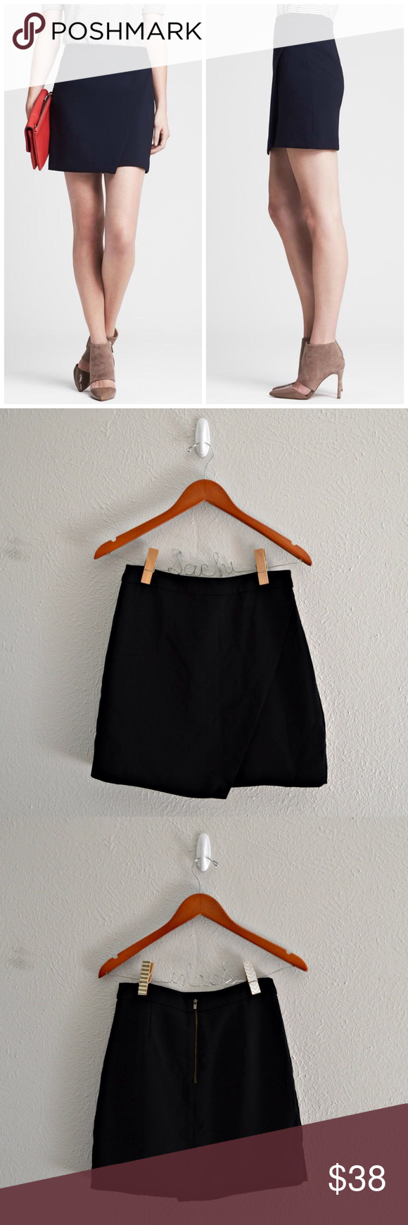 """Banana Republics Black Wrap Mini Skirt Black wrap style skirt from Banana Republic. Has an exposed back zipper closure. In excellent condition!  