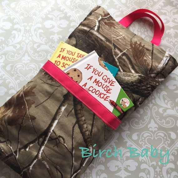 Camo and Hot Pink Travel Pillow with Pocket by MyBirchBaby on Etsy