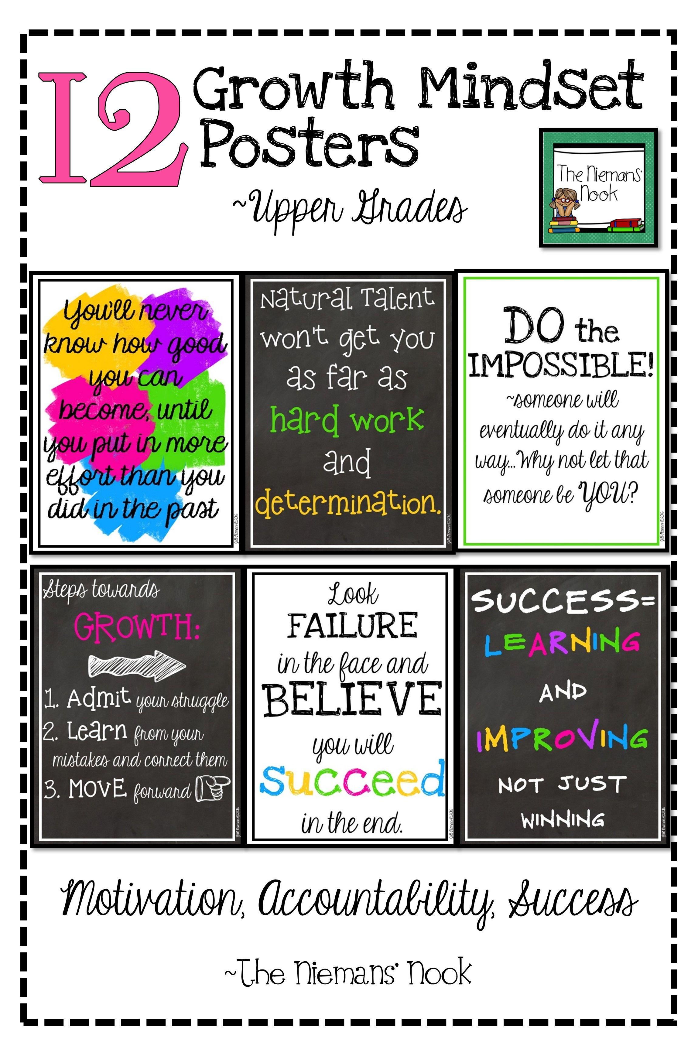Growth Mindset Posters Upper Grades
