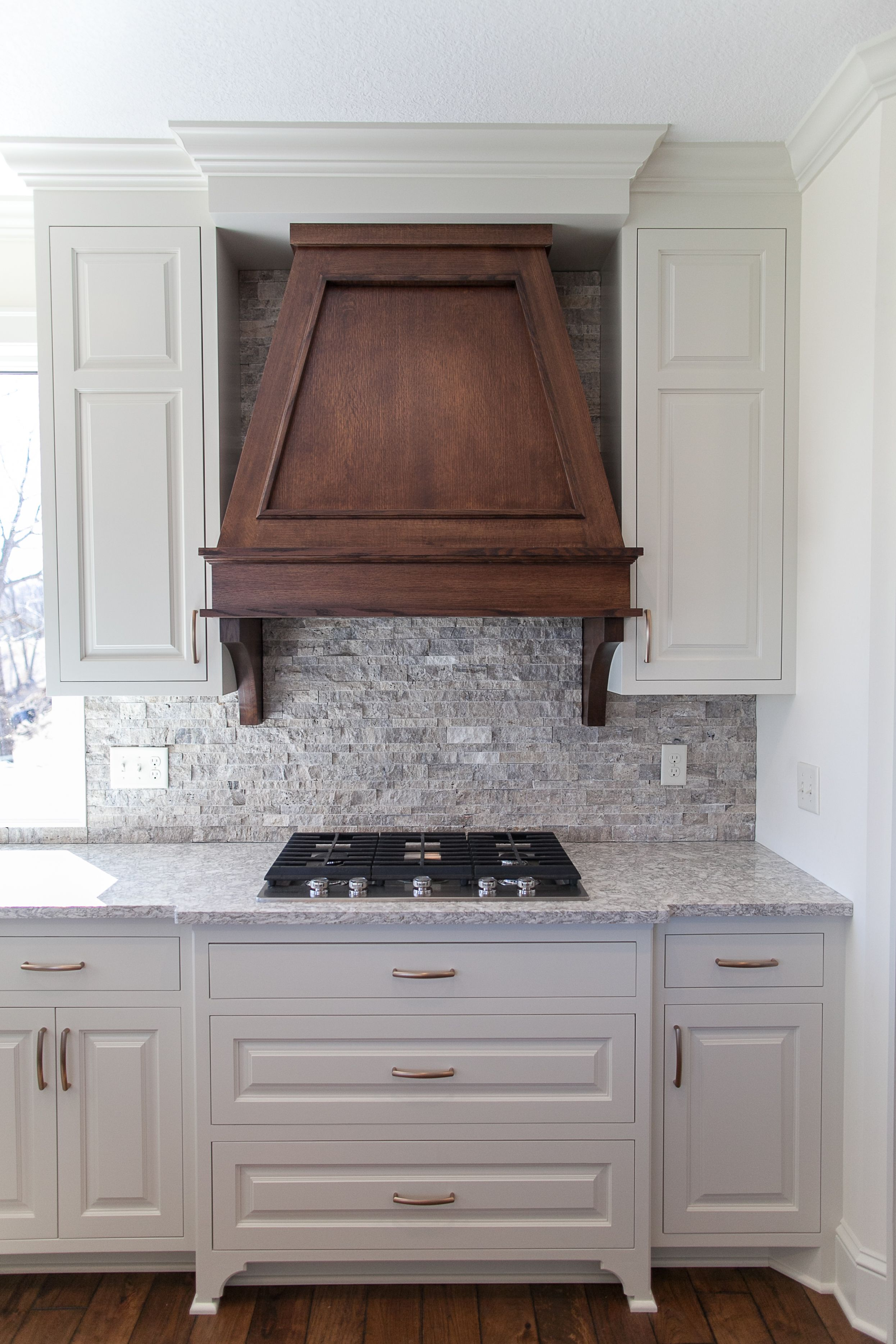 Our Custom Built Range Hood Constructed From Quarter Sawn Oak The Customer Chose Cabinet Pulls Finished In Rose Gold To Co Inset Cabinetry Range Hood Kitchen