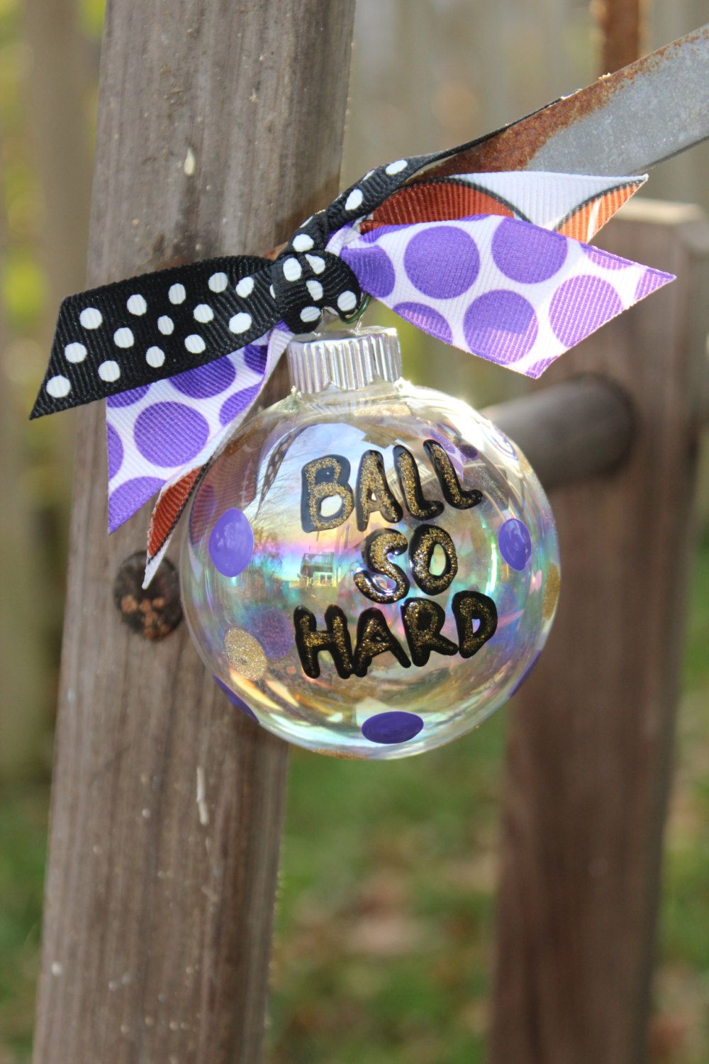 Ball so hard ornament by aGlassWithSass on Etsy