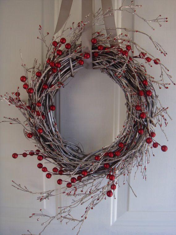 Photo of Christmas wreath, holiday wreath, winter wreath, red berry wreath, Christmas decoration, berry wreath, holiday decoration, silver decoration