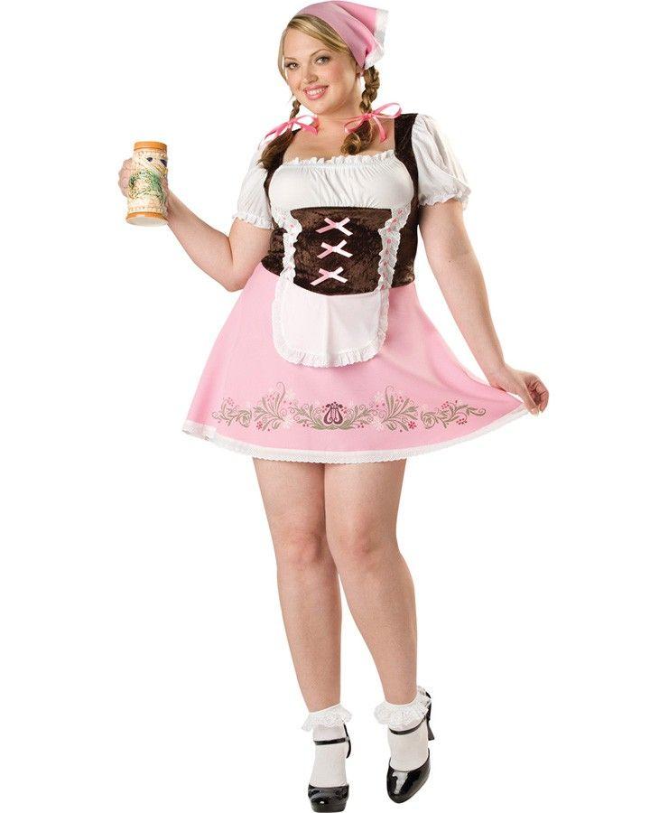 Womens Plus Size Red Plaid Dress Oktoberfest Fraulein Costume