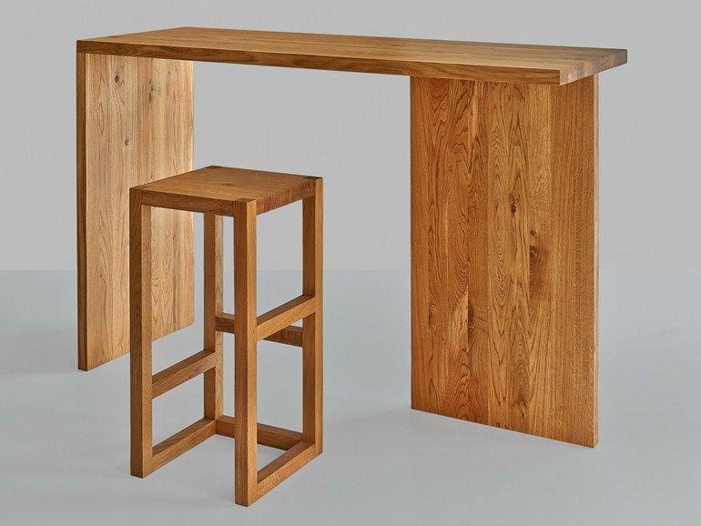 Mesa alta rectangular de madera maciza colecci n mena by for Mesas altas de cocina