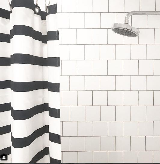 Boys Bath 6x6 Ceramic White Tile Darker Grout Tile Layout Bathroom Layout Printed Shower Curtain