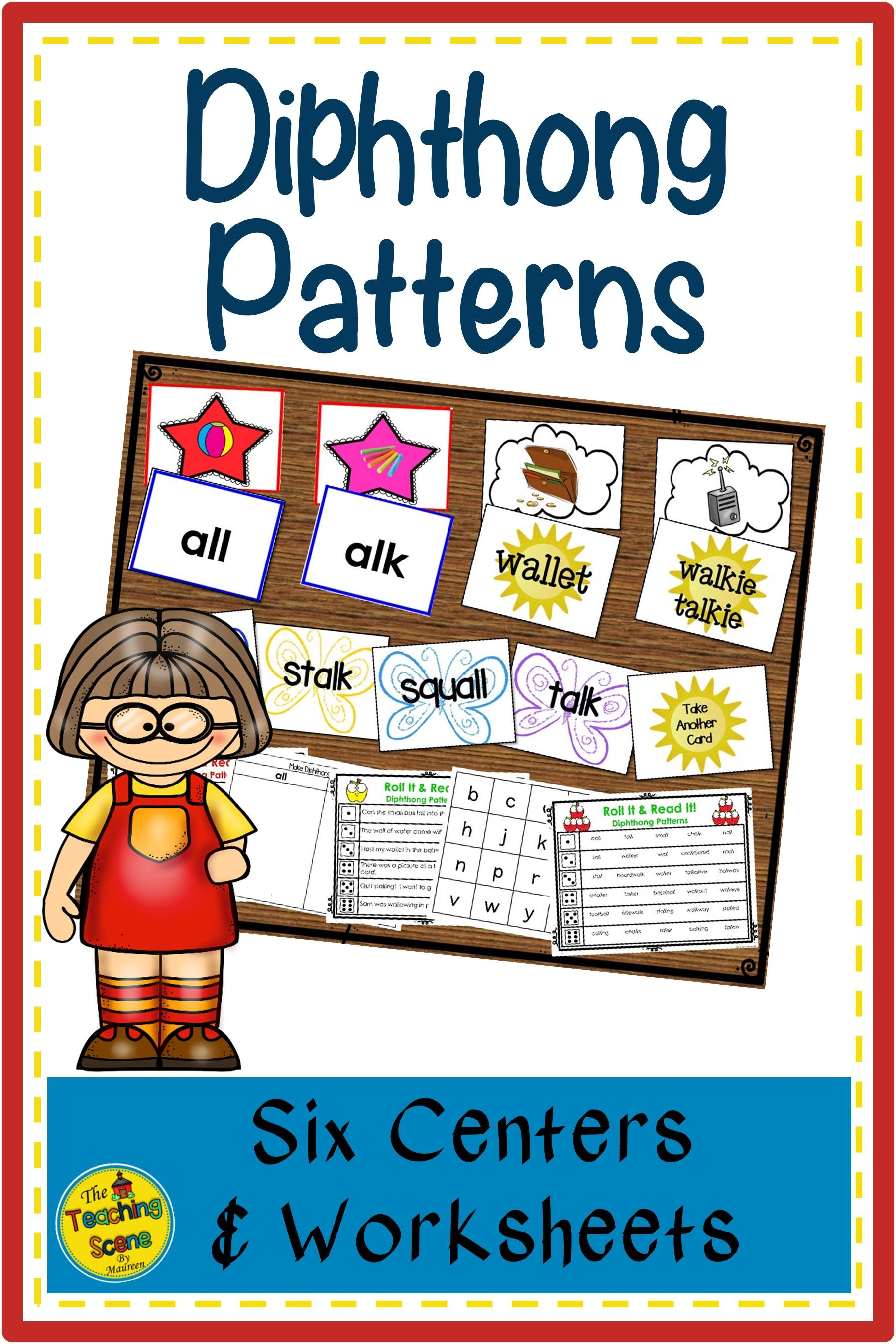 Diphthong Patterns All Amp Alk Centers Amp Worksheets In