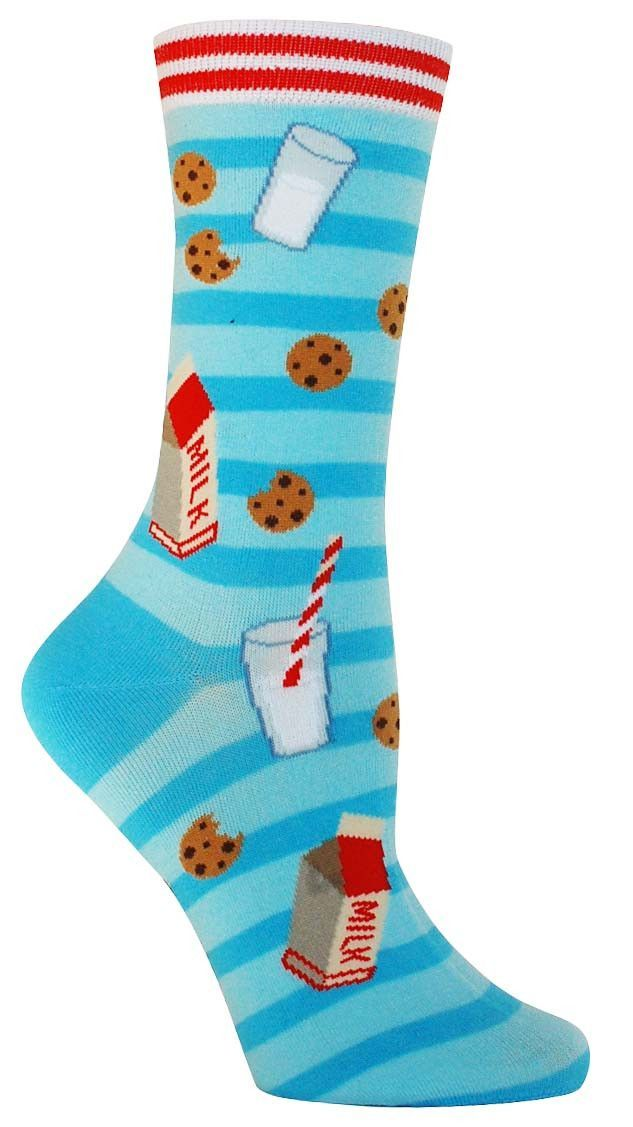 Milk and Cookies Fun Novelty Food Socks for Women in Blue
