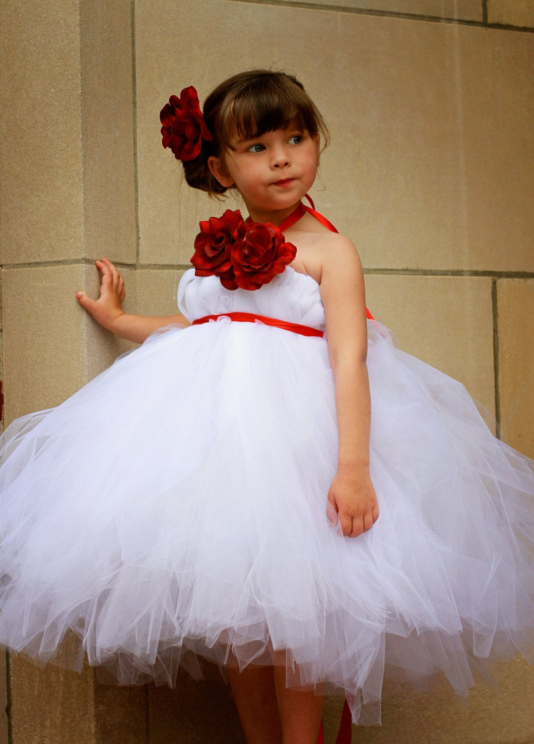 White And Red Flower Girl Tutu Dress With Matching Hair Clip 6800