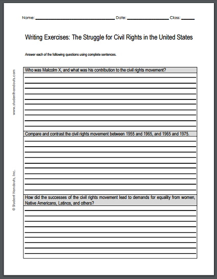 Struggle for Civil Rights Writing Exercises Handout - Free to ...