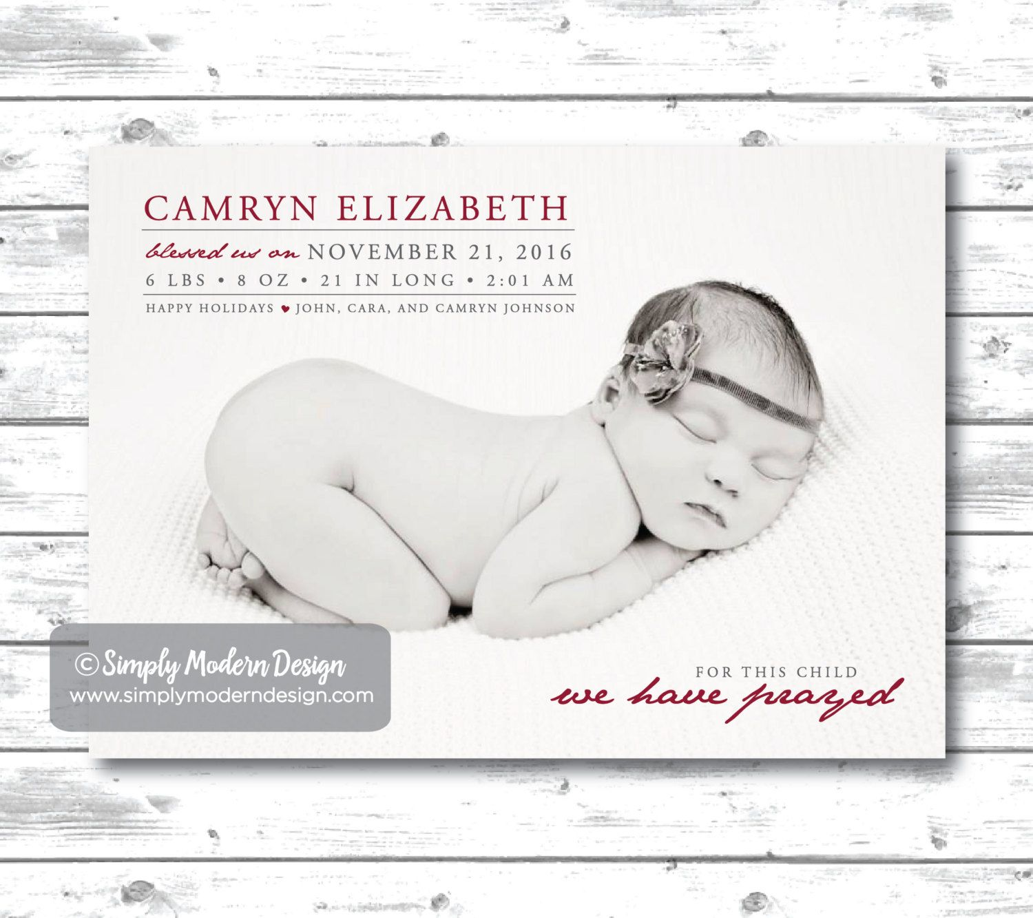 Holiday birth announcement For this child we have prayed – Baby Announcement Cards Etsy