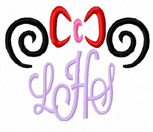 girl mouse swirl ears for monogram applique machine embroidery designs instant download. Black Bedroom Furniture Sets. Home Design Ideas