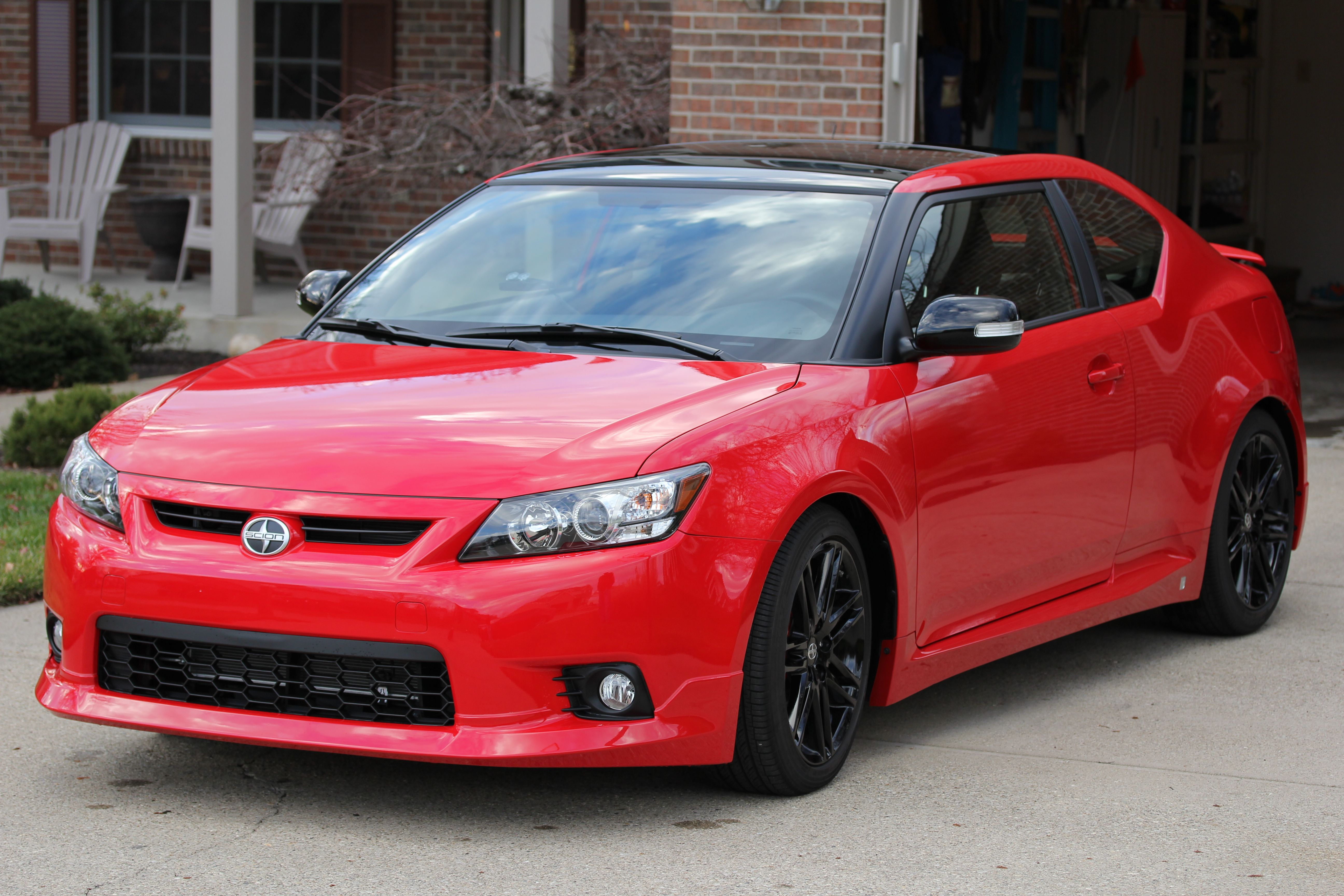 This Is A Scion Tc Release Series 8 0 Model Painted Exclusively In Absolutely Red Combined With Contrasting Black On The Side View Mirrors As Well