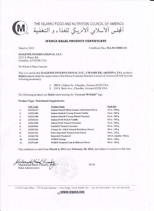 Produk Isagenix telah memiliki sertifikat halal di USA