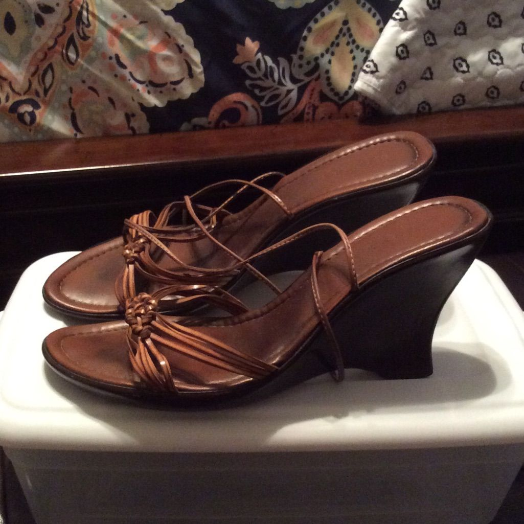 Brown Wedge Lace Up The Leg Sandals