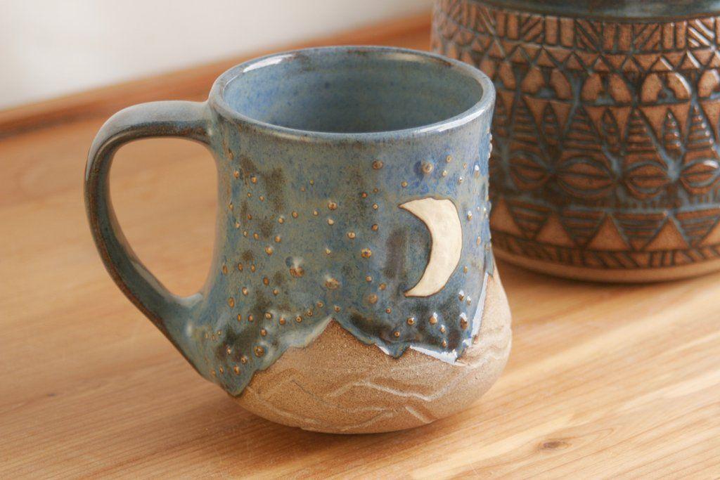 14 Oz Denim Blue Mug Desert Sky With Mountains Stars