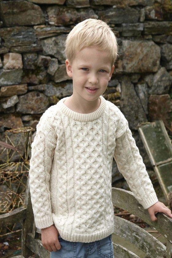 822c84dc1 Kid s Crew Neck Aran Sweater - Natural