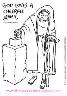 Little Jesus and Me Coloring Pages God Loves a cheerful giver